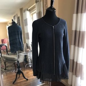Hinge navy/grey zip waffle knit top large